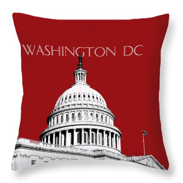 Washington DC Skyline The Capital Building -  Dk Red Throw Pillow by DB Artist