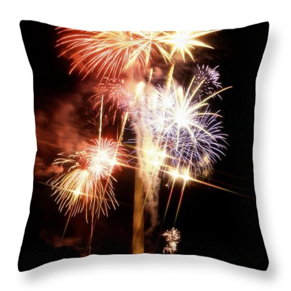 Washington Monument Fireworks 2 Throw Pillow by Stuart Litoff