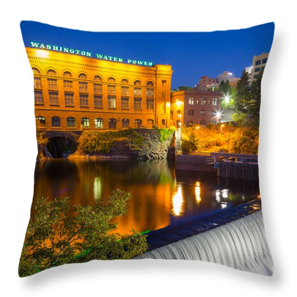 Washington Water Power Throw Pillow by Inge Johnsson