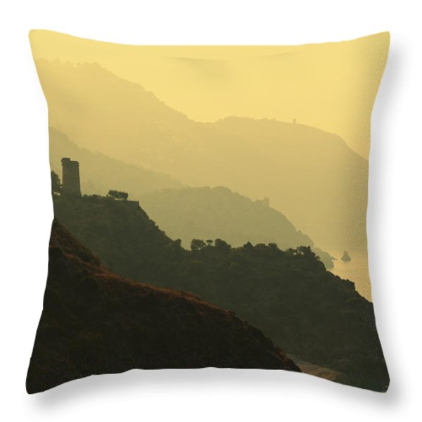 Watch Towers On The Marocerro Gordo Cliffs Throw Pillow by Ken Welsh