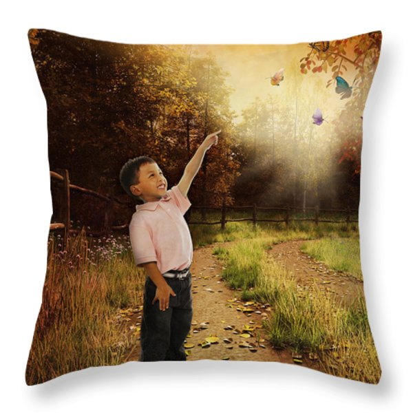 Watching Butterflies Throw Pillow by Bedros Awak