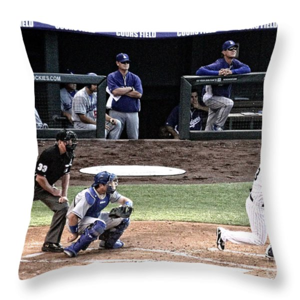 Watching The Ball Throw Pillow by Bob Hislop