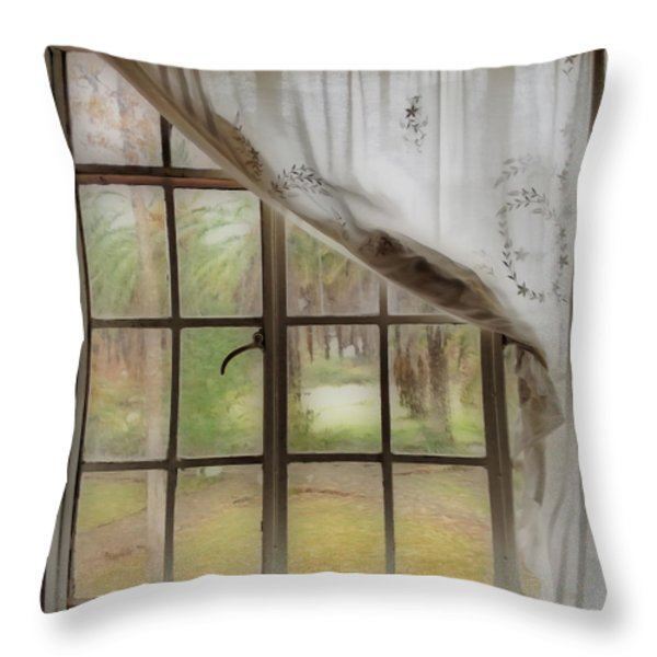 Watching The Rain Throw Pillow by Cheryl Young
