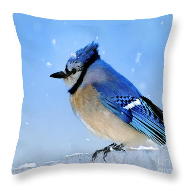 Watching The Snow Throw Pillow by Betty LaRue