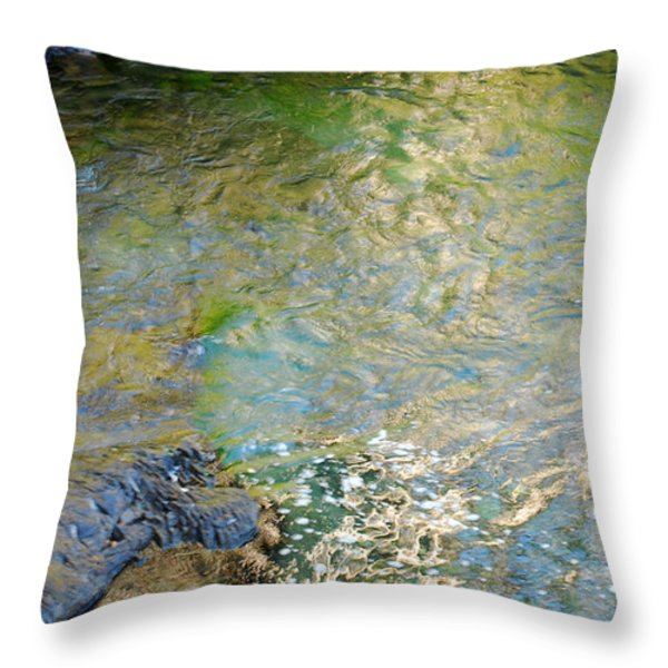 Water Colors. Narada Falls Abstract Throw Pillow by Connie Fox