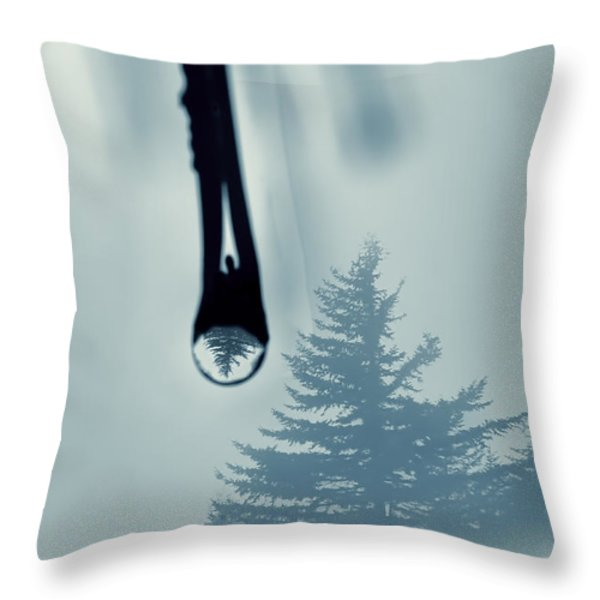 Water Drop With Tree Reflection Throw Pillow by Dan Friend