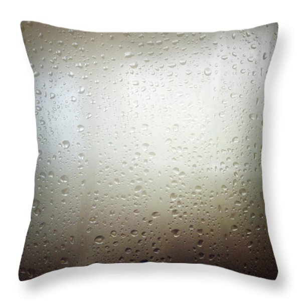 Water Drops Throw Pillow by Les Cunliffe
