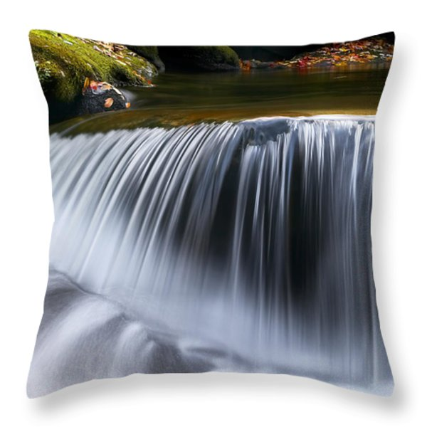 Water Falling Great Smoky Mountains Throw Pillow by Rich Franco