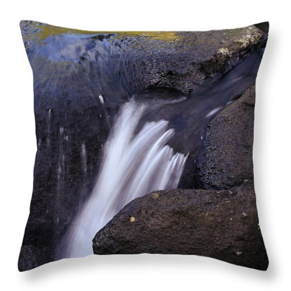Water Flowing Throw Pillow by Les Cunliffe