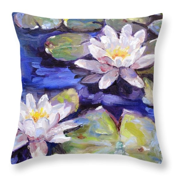 Water Lilies Throw Pillow by Donna Tuten