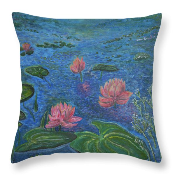 Water Lilies Lounge 2 Throw Pillow by Felicia Tica
