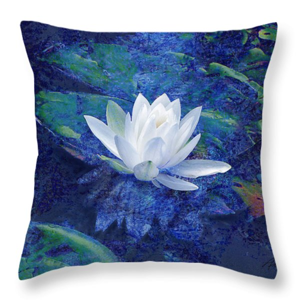 Water Lily Throw Pillow by Ann Powell