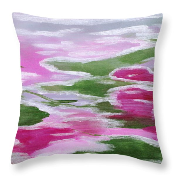 Water Lily Throw Pillow by Donna Blackhall