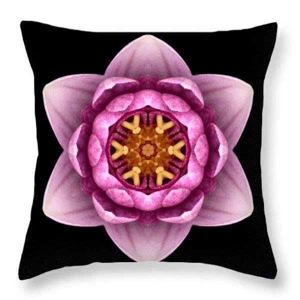 Water Lily X Flower Mandala Throw Pillow by David J Bookbinder