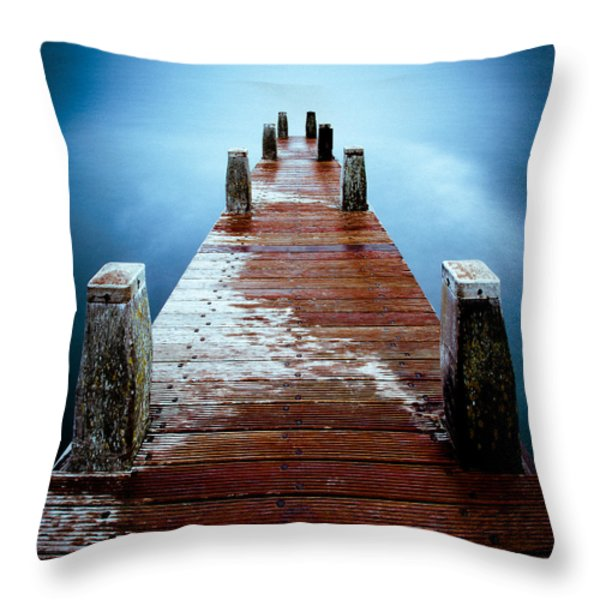 Water On The Jetty Throw Pillow by Dave Bowman