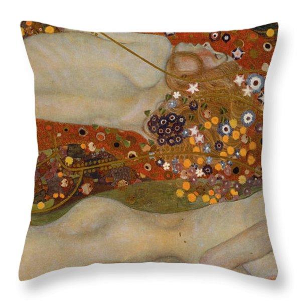 Water Serpents II Throw Pillow by Gustav Klimt
