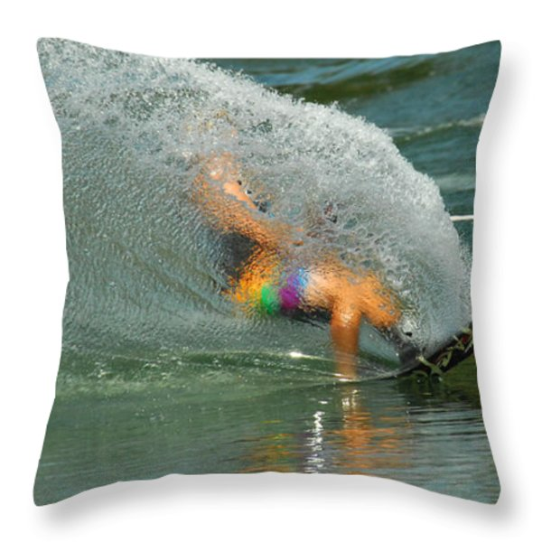 Water Skiing 5 Magic of Water Throw Pillow by Bob Christopher