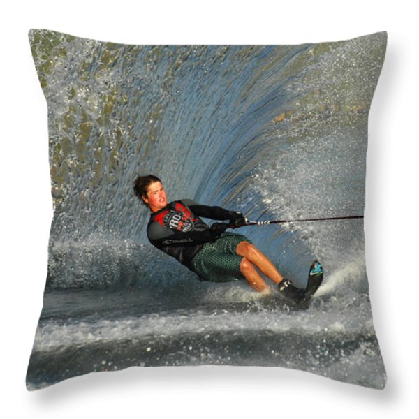 Water Skiing Magic of Water 13 Throw Pillow by Bob Christopher