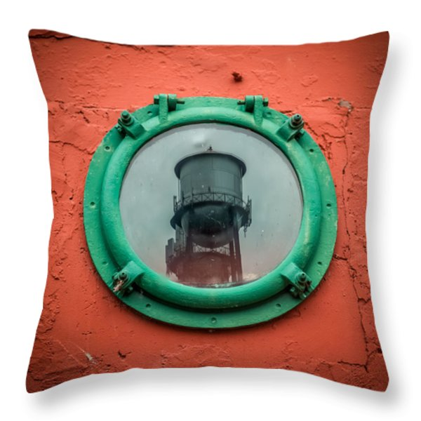 Water Tower Reflection Throw Pillow by Paul Freidlund