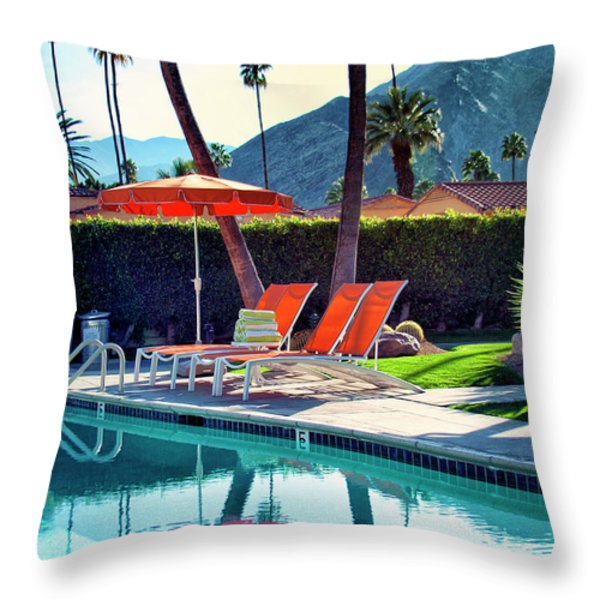WATER WAITING Palm Springs Throw Pillow by William Dey