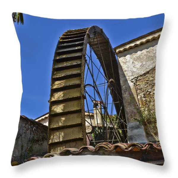 Water Wheel At Moulin A Huile Michel Throw Pillow by Allen Sheffield