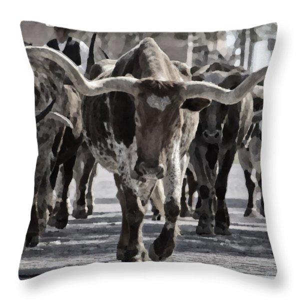 Watercolor Longhorns Throw Pillow by Joan Carroll