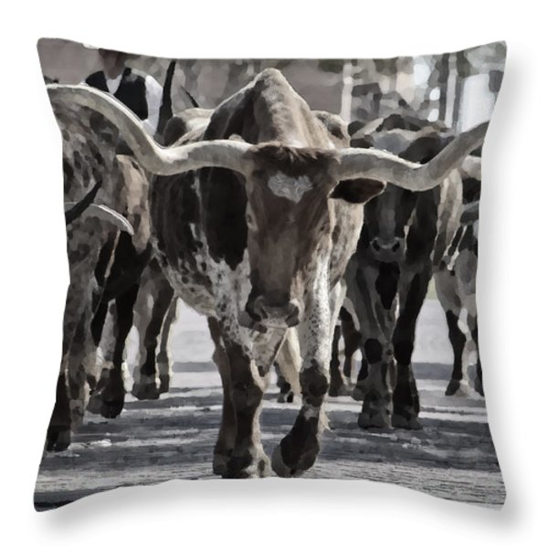 Watercolor Longhorns Throw Pillow by Joan Carroll
