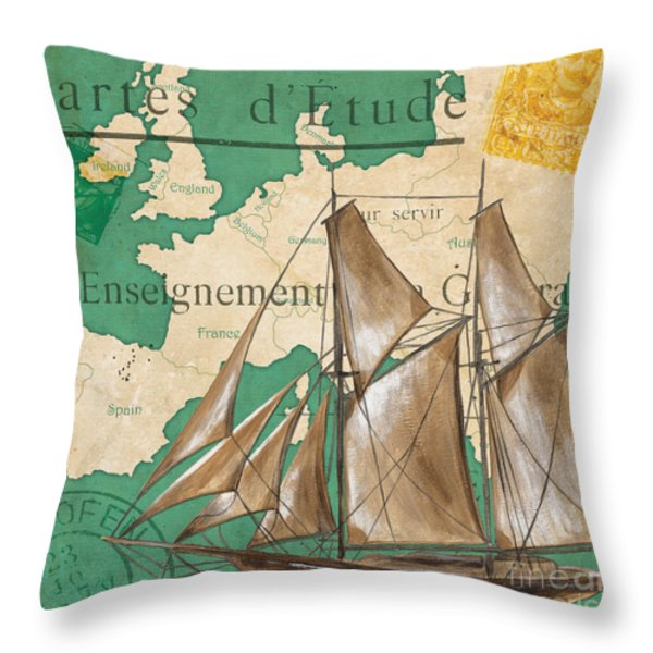 Watercolor Map 1 Throw Pillow by Debbie DeWitt