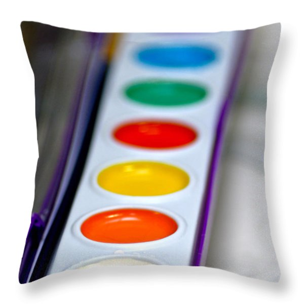 Watercolor Paint Set Throw Pillow by Amy Cicconi