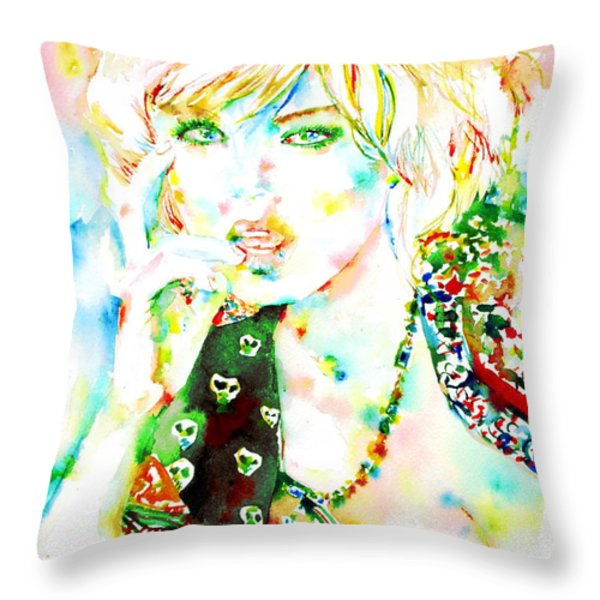 WATERCOLOR WOMAN.3 Throw Pillow by Fabrizio Cassetta
