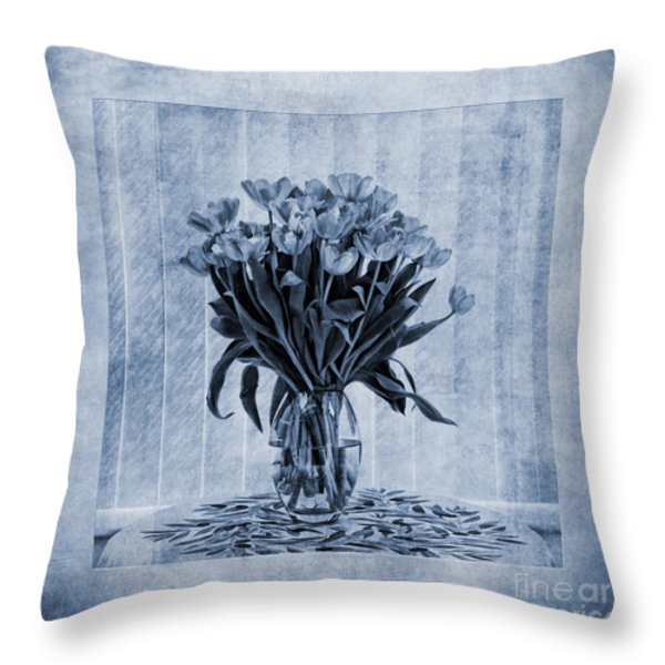 Watercolour Tulips In Blue Throw Pillow by John Edwards