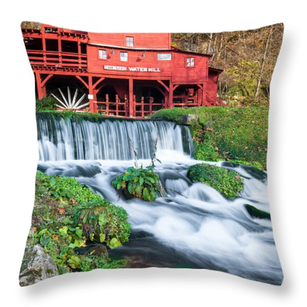 Waterfall And Hodgson Mill - Missouri Throw Pillow by Gregory Ballos
