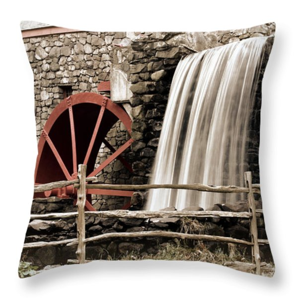 Waterfall at the Mill Throw Pillow by Jayne Carney