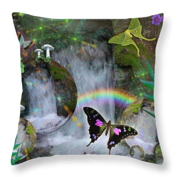 Waterfall Daydream Throw Pillow by Alixandra Mullins