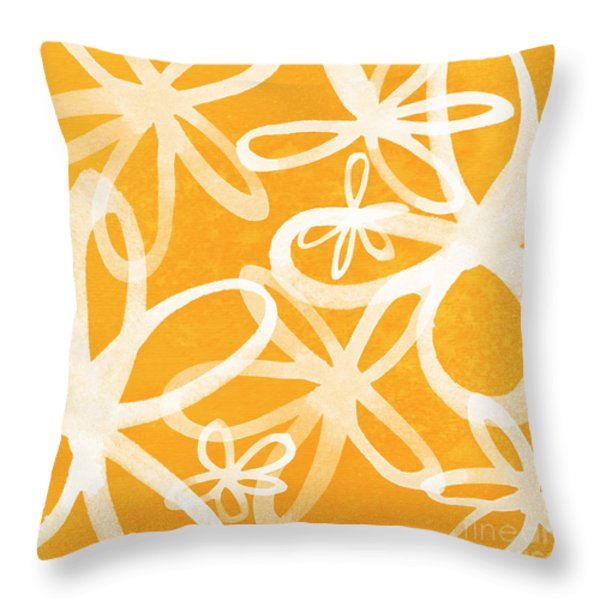 Waterflowers- orange and white Throw Pillow by Linda Woods