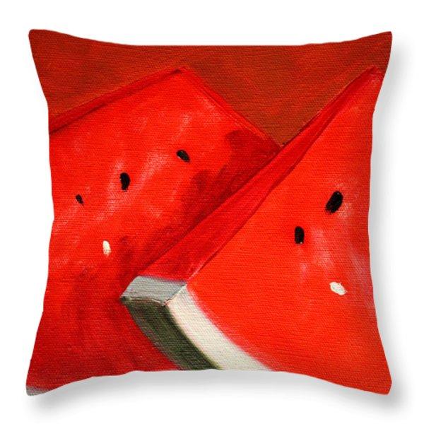 Watermelon Throw Pillow by Nancy Merkle