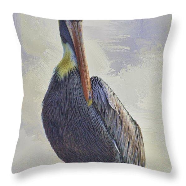 Waterway Pelican Throw Pillow by Deborah Benoit