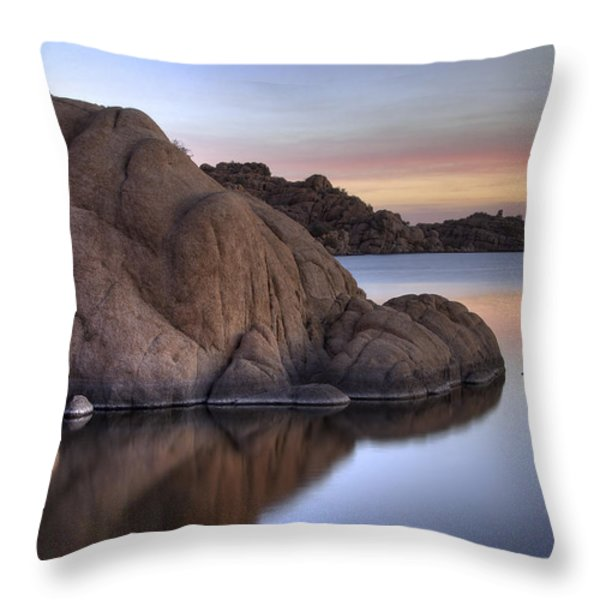 Watson Lake Arizona Colors Throw Pillow by Dave Dilli