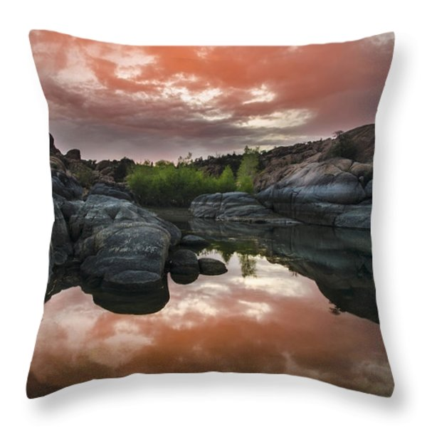 Watson Lake In Pink Throw Pillow by Dave Dilli