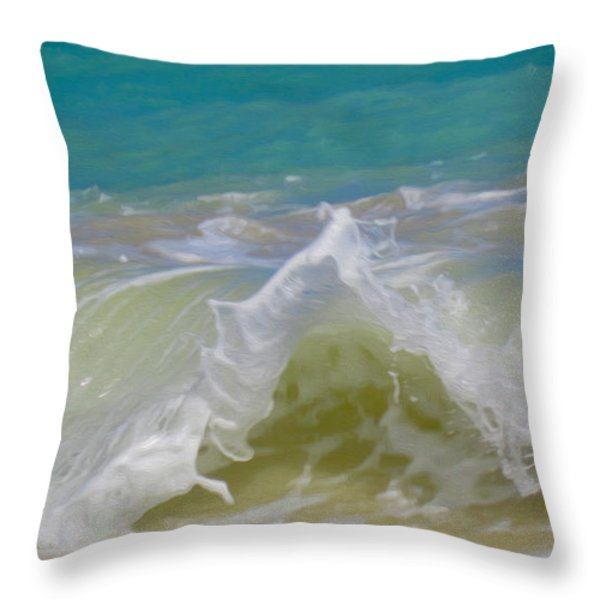 Wave 3 Throw Pillow by Cheryl Young