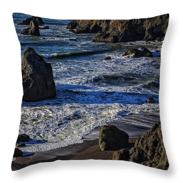 Wave breaking on rock Throw Pillow by Garry Gay