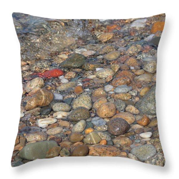 Wave over Beautiful Rocks Throw Pillow by Carol Groenen
