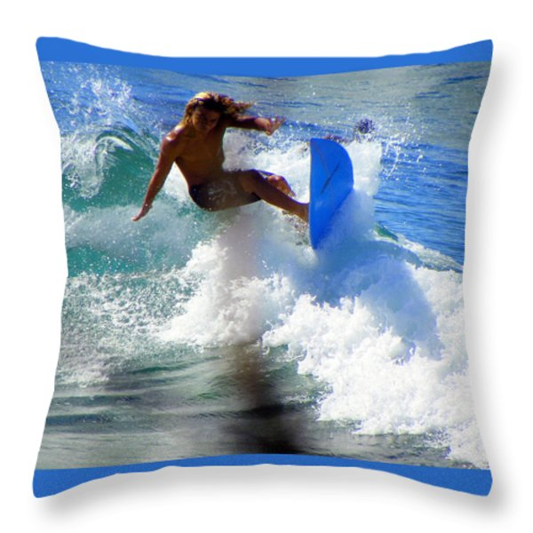 WAVE RIDER Throw Pillow by KAREN WILES