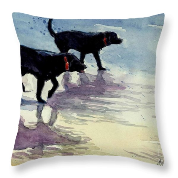 Waverunners Throw Pillow by Molly Poole