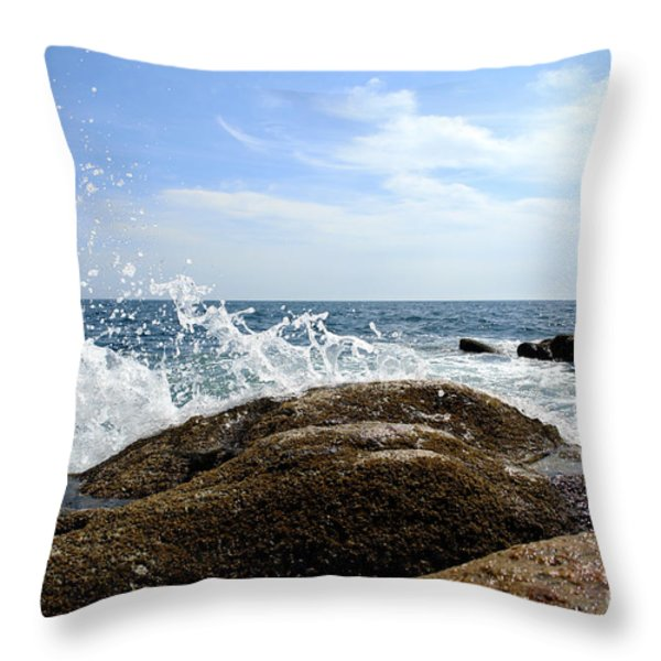 Waves Crashing Throw Pillow by Olivier Le Queinec