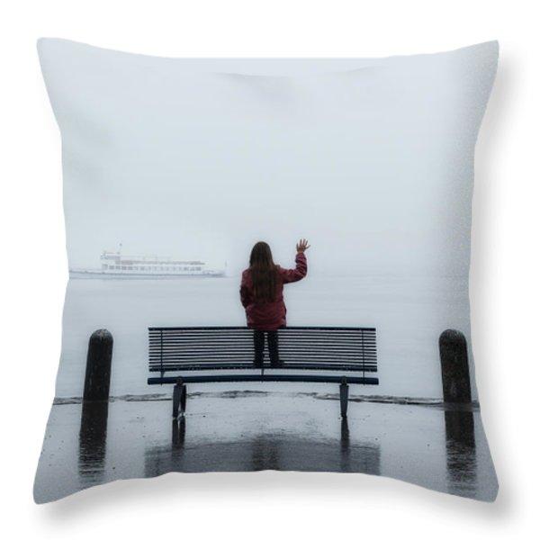waving goodbye Throw Pillow by Joana Kruse