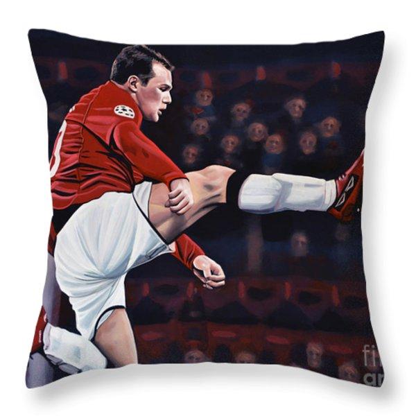 Wayne Rooney Throw Pillow by Paul  Meijering