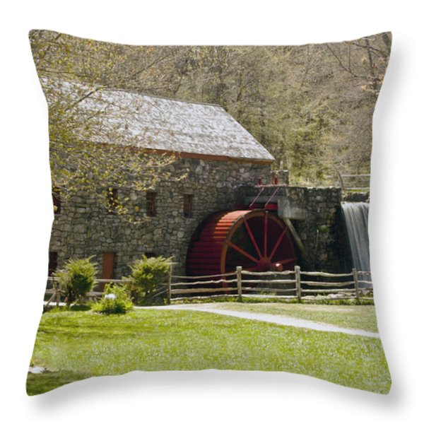 Wayside Grist Mill 6 Throw Pillow by Dennis Coates
