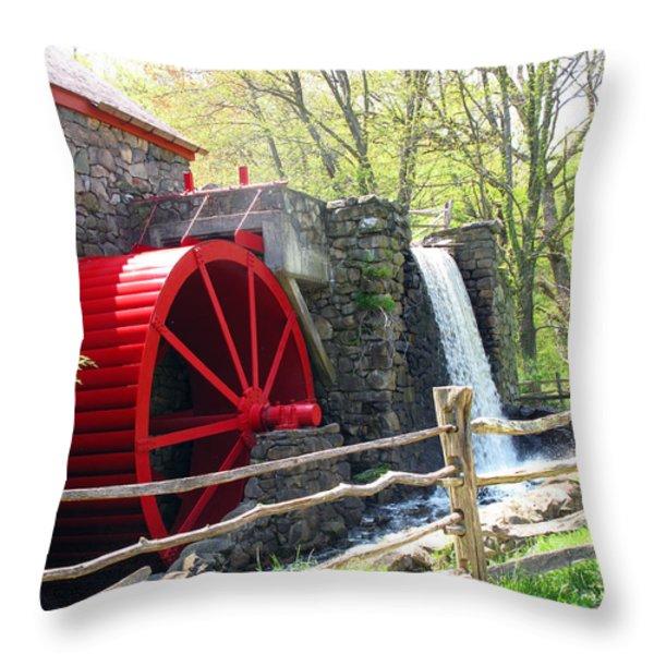 Wayside Inn Grist Mill Throw Pillow by Barbara McDevitt