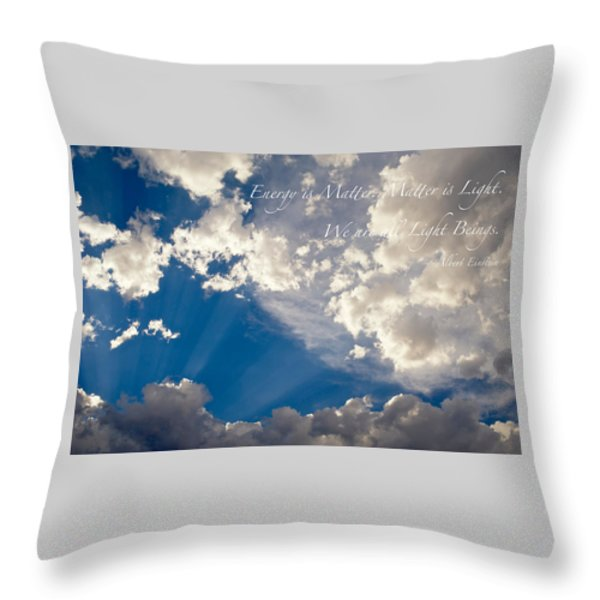 We Are All Light Beings Throw Pillow by Mary Lee Dereske